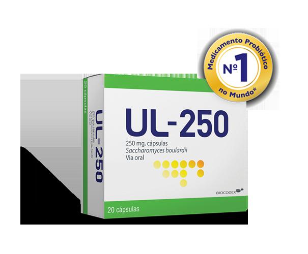 UL-250<sup>®</sup> cápsulas é o medicamento probiótico n.º 1 no mundo<sup>*</sup>, com tripla ação